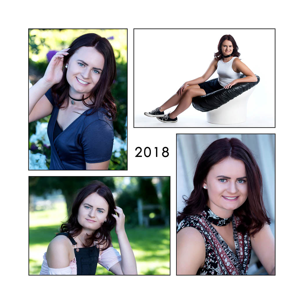 composite of four senior pictures of dark haired girl smiling