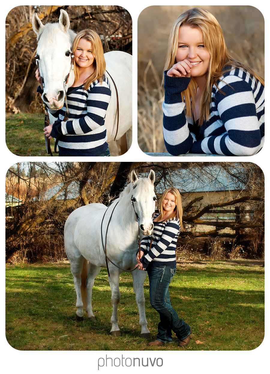 Grace Lind an Ellensburg High School senior was so sweet. She had some of her pictures taken with her horse and is a regular competitor at the rodeo ground here in Ellensburg so that was the main location of our shoot. The shiny silver texture of the cow shoots made for an interesting background and some beautiful lighting in the grandstand later in the day.