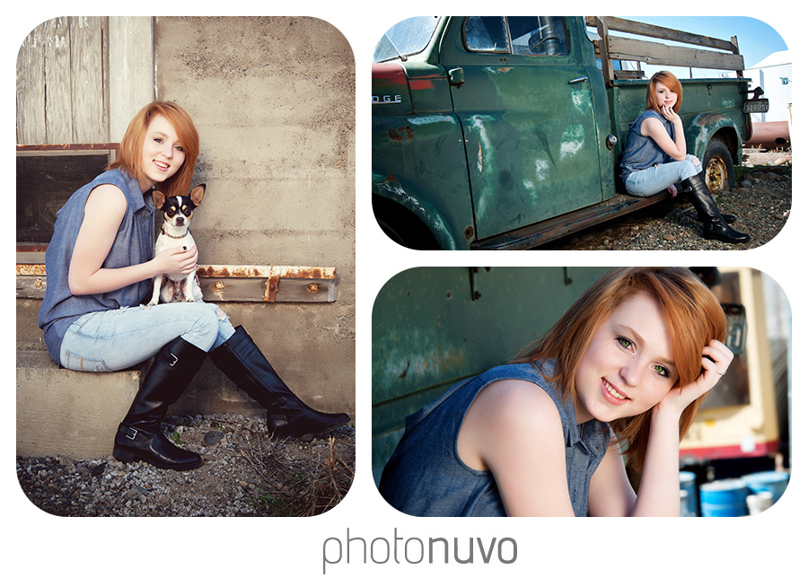 girl with red hair sitting during senior pictures