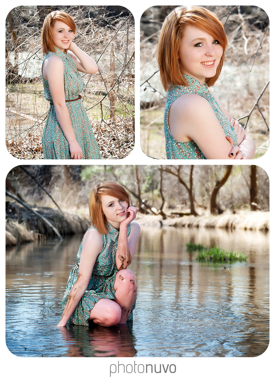 cute senior pictures of girl crouching in muddy river