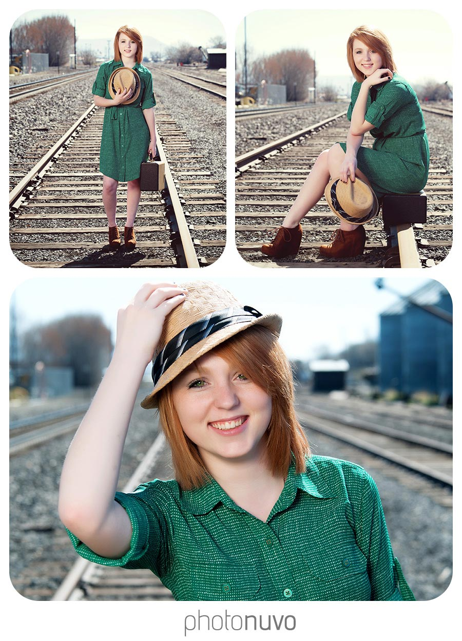 senior pictures of girl standing on railroad tracks