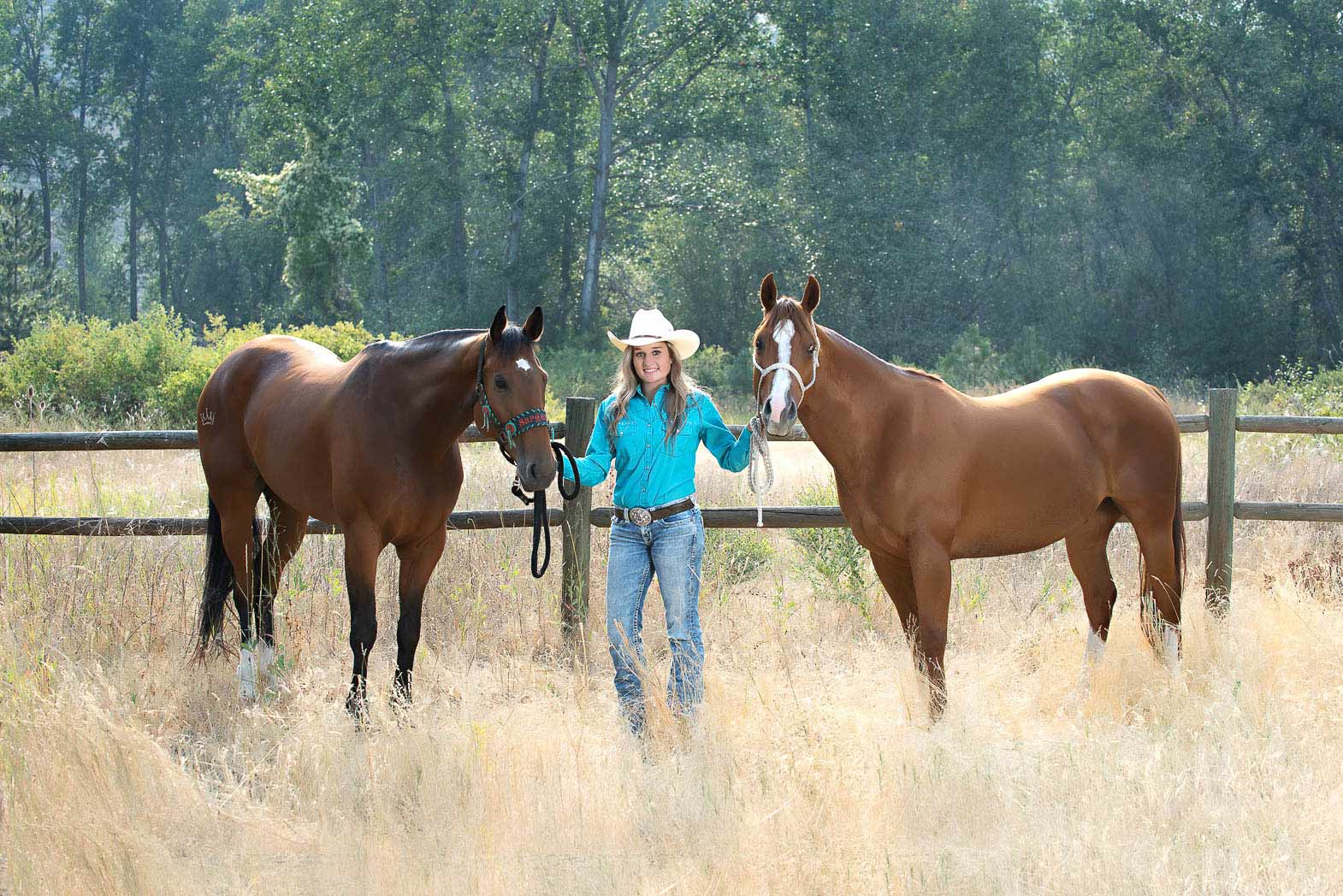 cowgirl senior picture of girl standing between two horses
